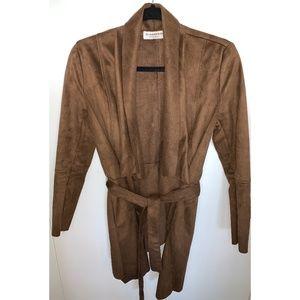 BNWOT Glamorous Brown Faux Suede Wrap Jacket XS